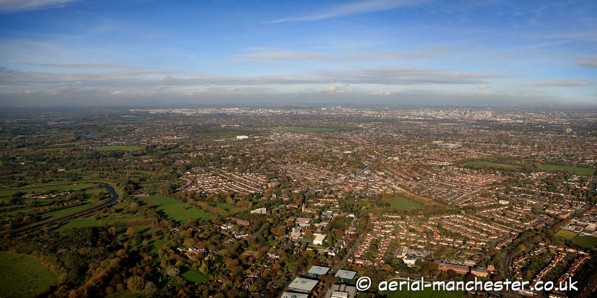 panoramic aerial photograph of Didsbury and the