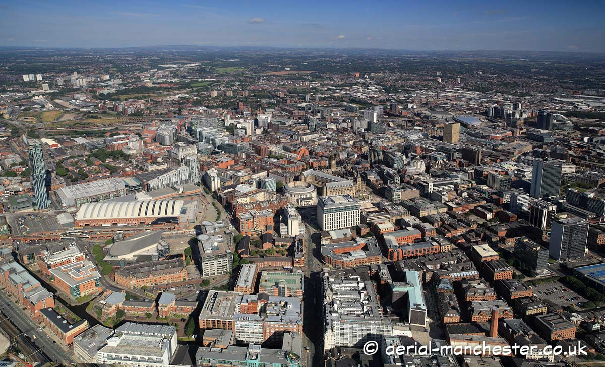 panoramic aerial photograph of the Manchester