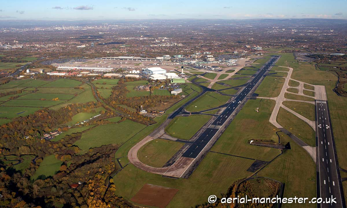 aerial photograph of Manchester airport