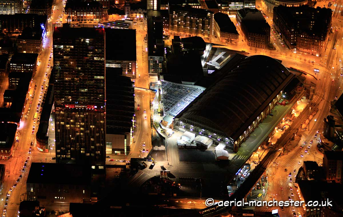 aerial photograph of Manchester taken at night